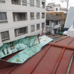台風ではがれてしまった屋根です